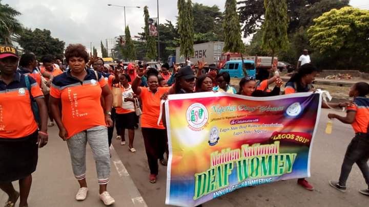 Charity walk during the Nigerian Deaf Women AGM in Lagos last year August.